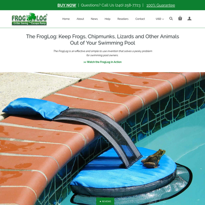 FrogLog: Keep frogs, and other animals out of your swimming pool
