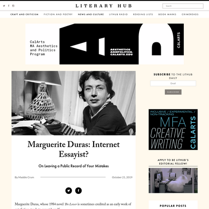 Marguerite Duras: Internet Essayist?
