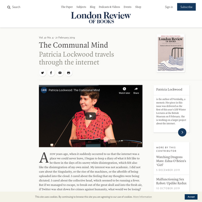 The Communal Mind · LRB 21 February 2019