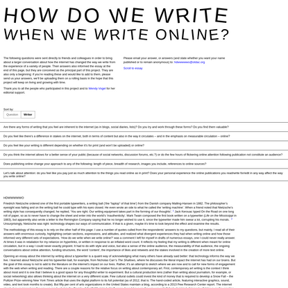 How Do We Write When We Write Online?