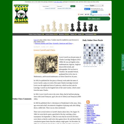 "Lewis Carroll and Chess "" ChessManiac"