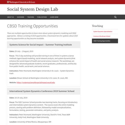 CBSD Training Opportunities