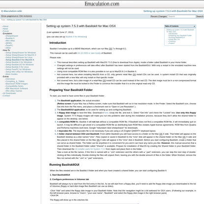 Setting up system 7.5.3 with BasiliskII for Mac OSX [E-Maculation wiki]