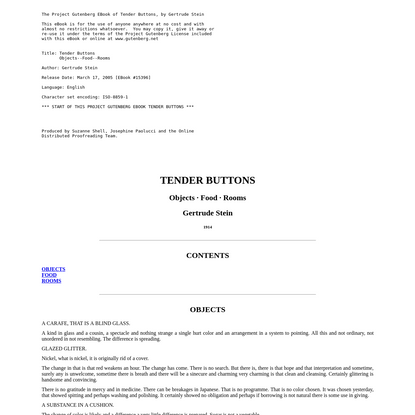 The Project Gutenberg eBook of Tender Buttons, by Gertrude Stein.