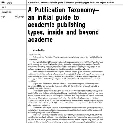 A Publication Taxonomy