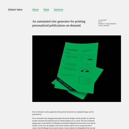 An automated zine generator for printing personalized publications on-demand.