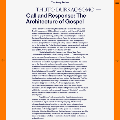 The Avery Review | Call and Response: The Architecture of Gospel