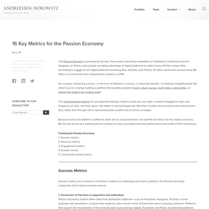 16 Key Metrics for the Passion Economy