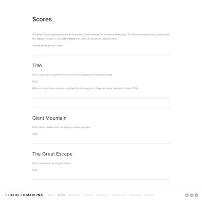 Scores - Fluxus Ex Machina