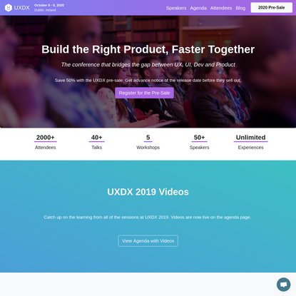 UXDX Conference 2020 - From Project to Product