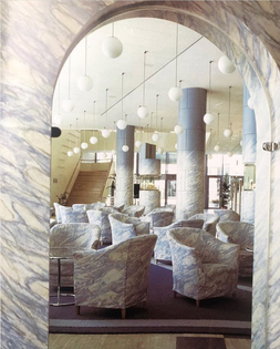 Trix and Robert Haussmann, Hotel Plaza lobby, Basel, 1984