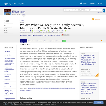 """We Are What We Keep: The """"Family Archive"""", Identity and Public/Private Heritage"""