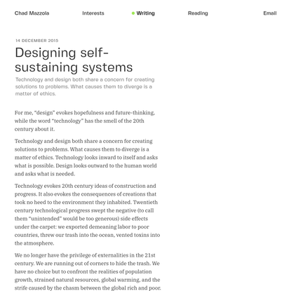 Designing self-sustaining systems