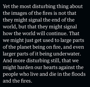 Pictures of the world on fire won't shock us for much longer, Mark O'Connell