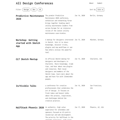 All Design Conferences - A place to find UX, Tech, and Creative Events Around the World