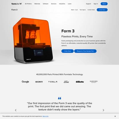Form 3: Industrial-Quality Desktop SLA 3D Printer