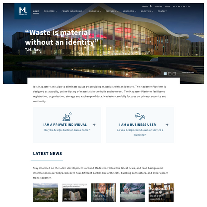 madaster material database, library of materials in the built environment