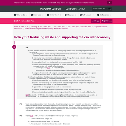 Policy SI7 Reducing waste and supporting the circular economy