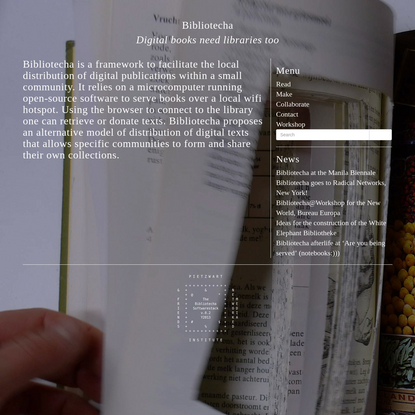 Bibliotecha is a framework to facilitate the local distribution of digital publications within a small community. It relies ...