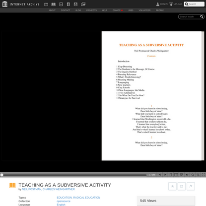 TEACHING AS A SUBVERSIVE ACTIVITY : NEIL POSTMAN, CHARLES WEINGARTNER : Free Download, Borrow, and Streaming : Internet Archive