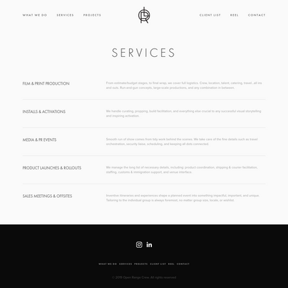 Services - Open Range | A Full-Service Production Company