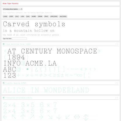 AT Century Mono - Web Font Specimen