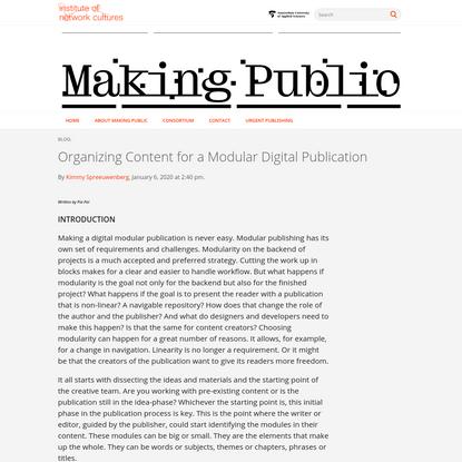 Organizing Content for a Modular Digital Publication