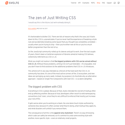 The zen of Just Writing CSS