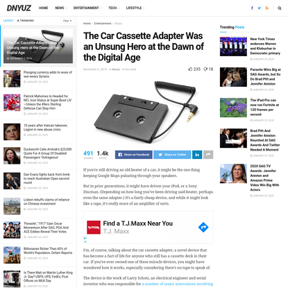 The Car Cassette Adapter Was an Unsung Hero at the Dawn of the Digital Age