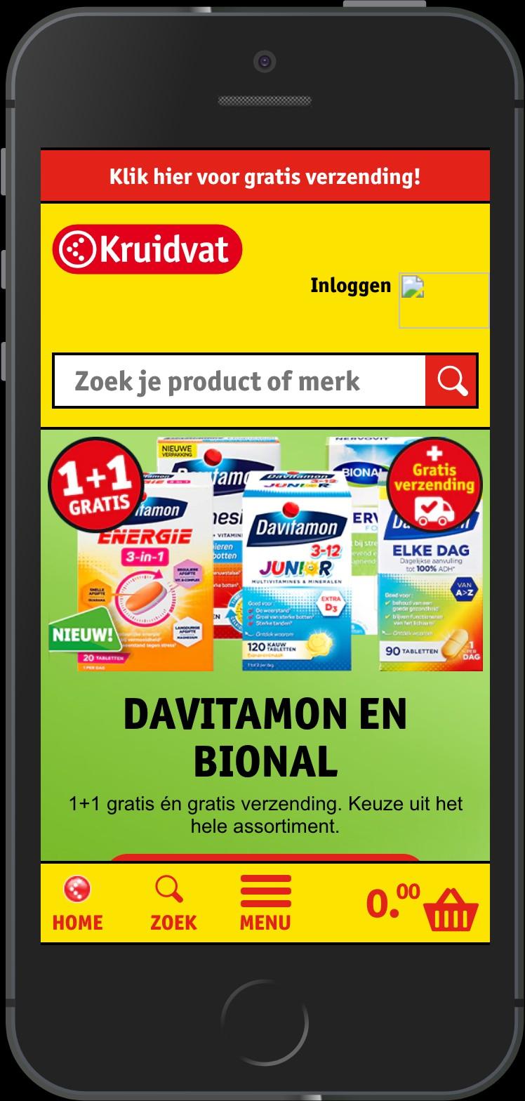 Bottom navigation on mobile on kruidvat.nl