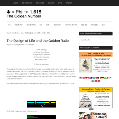 The Design of Life and the Golden Ratio