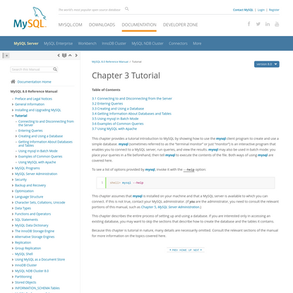 MySQL :: MySQL 8.0 Reference Manual :: 3 Tutorial