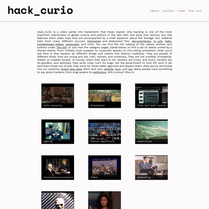 HackCurio: Decoding the Cultures of Hacking