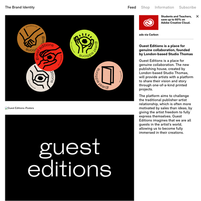 Guest Editions is a place for genuine collaboration, founded by London-based Studio Thomas - The Brand Identity