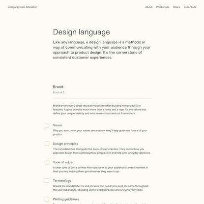 Design System Checklist