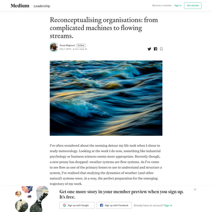 Reconceptualising organisations: from complicated machines to flowing streams.