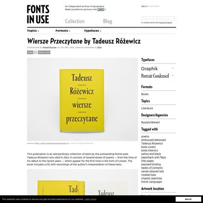 Wiersze Przeczytane by Tadeusz Różewicz
