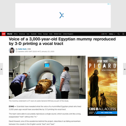Voice of a 3,000-year-old Egyptian mummy reproduced by 3-D printing a vocal tract