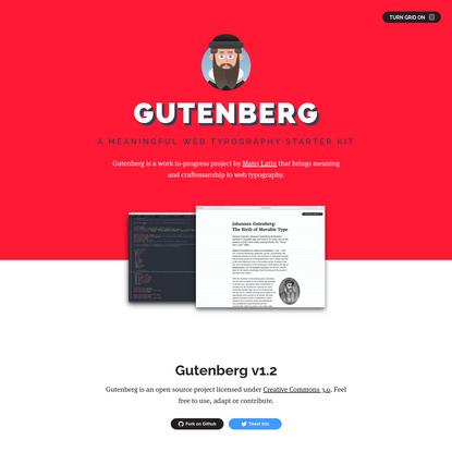 Gutenberg - A Meaningful Web Typography Starter Kit