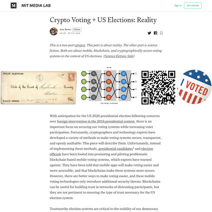 Crypto Voting & U.S. Elections: Reality
