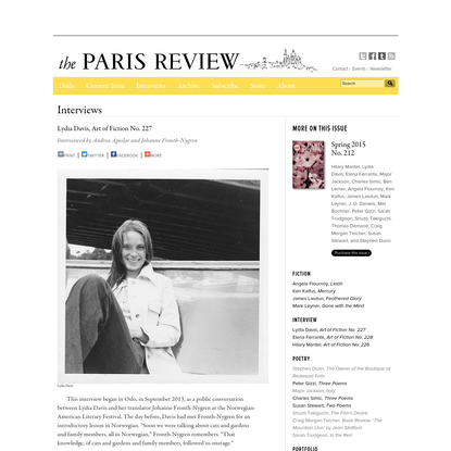 Paris Review - Art of Fiction No. 227, Lydia Davis