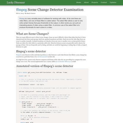 ffmpeg Scene Change Detector Examination