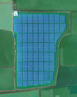 """""""Solar panels sitting atop a man-made lake in Huainan, China, make up the world's largest floating solar farm. Sungrow Huainan Solar Farm is capable of producing enough electricity to power 15,000 homes and floats above an area formerly used for coal mining."""""""