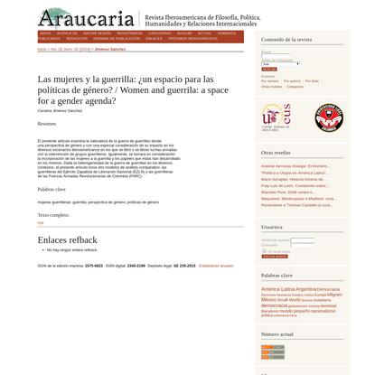 Las mujeres y la guerrilla: ¿un espacio para las políticas de género? / Women and guerrila: a space for a gender agenda? | J...