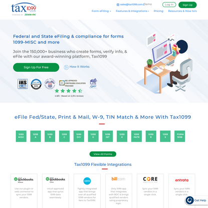 1099 Form MISC, W2, 941, 1095 ACA Reporting Online eFile