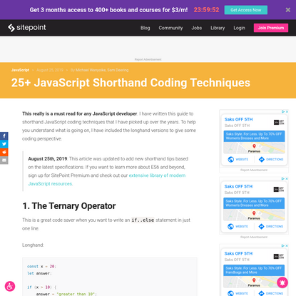25+ JavaScript Shorthand Coding Techniques - SitePoint