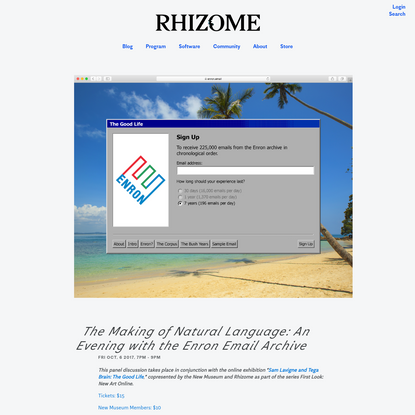 The Making of Natural Language: An Evening with the Enron Email Archive