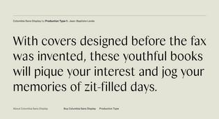 Vintage YA Novels Typelist: Specimen