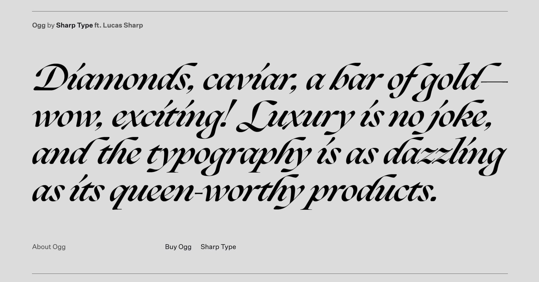 Luxury Typelist: Specimen