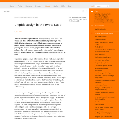Typotheque: Graphic Design in the White Cube by Peter Biľak
